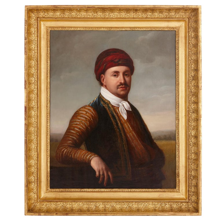 Antique oil painting of a Turkish man in giltwood frame