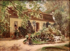 Antique Oil painting of an idyllic Property, Mansion, in Berlin Pankow.