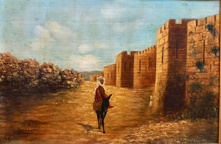 Antique Oil Painting Of Jerusalem Ascent to Old City Walls - Brown Figurative Painting by Unknown