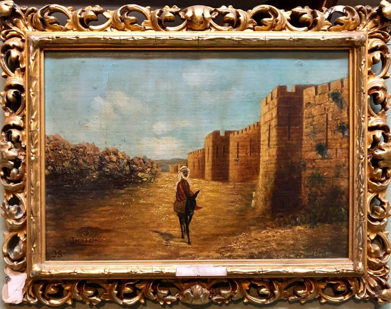 Unknown Figurative Painting - Antique Oil Painting Of Jerusalem Ascent to Old City Walls