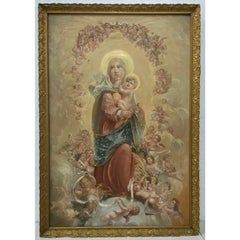 Antique Oil Painting of Madonna and Child