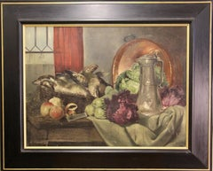 Antique Oil Painting, Still Life with fresh Fish, Apples, Lettuce and Pewter Jug