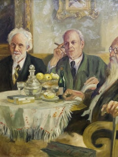 Antique Russian Oil Painting, Table Round with Three Gentlemen in a Club.