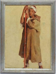 Antique Orientalist Oil Painting Portrait of Young Sheppard Man