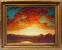Antique Original Expansive Panoramic Blazing Sunset Signed Stunning Oil Painting