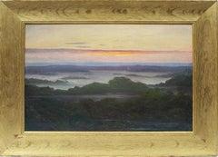 Antique Original Expansive Panoramic Blazing Sunset Stunning Hamptos LI Painting
