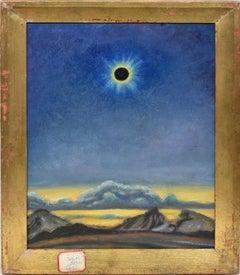 Antique Original Oil Painting of Solar Eclipse Modernist Celestial Landscape