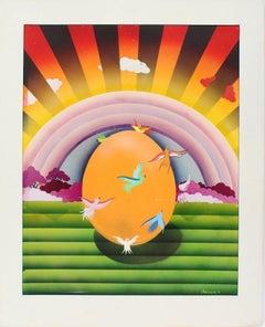 Antique Original Signed Surreal Landscape Art Deco Flying Bird Rainbow Painting