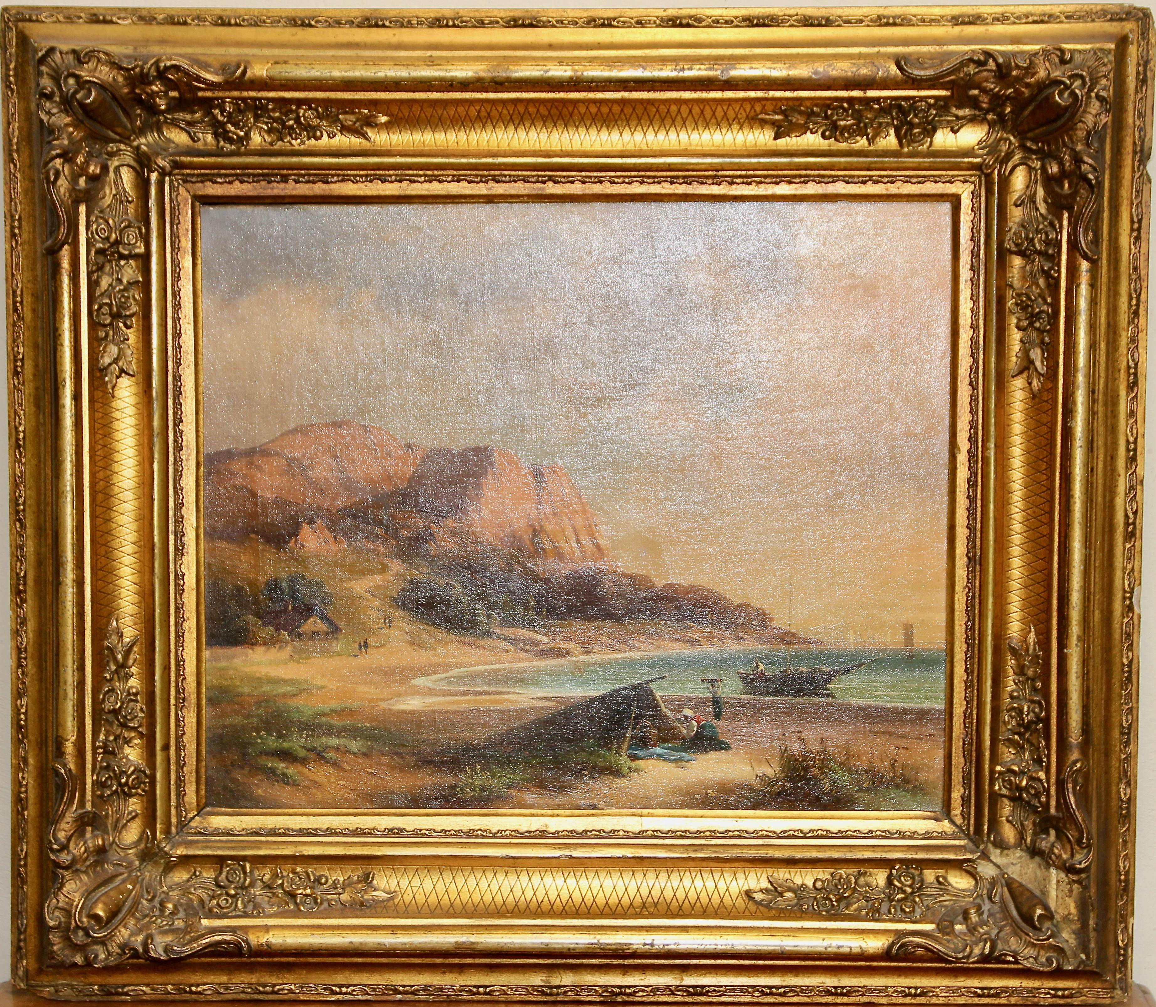 Antique painting, fisherman on the coast, oil on canvas.