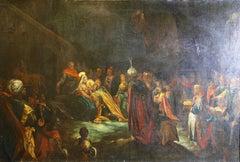 "Antique painting. ""Kings from all over the world in Bethlehem"". Christian scene."