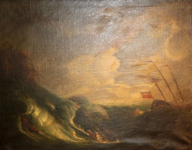 Antique Painting, Oil on canvas. Capsized Ship on a Stormy Sea. - Brown Landscape Painting by Unknown