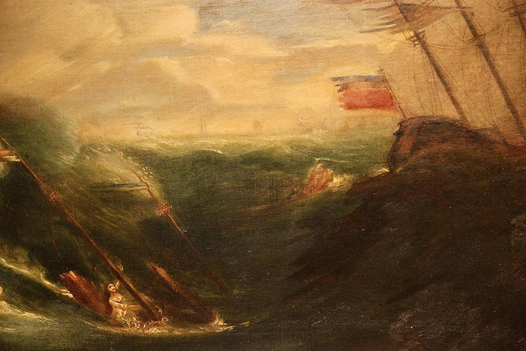 Antique painting, oil on canvas. Capsized ship on a stormy sea.  Canvas has been professionally relined. Dimensions including frame.  Including certificate of authenticity.