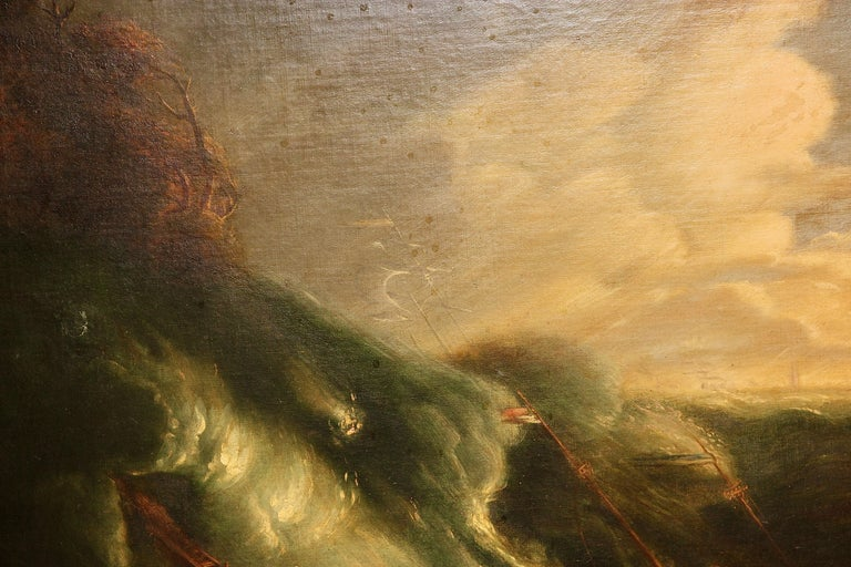 Antique Painting, Oil on canvas. Capsized Ship on a Stormy Sea. For Sale 1