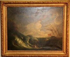 Antique Painting, Oil on canvas. Capsized Ship on a Stormy Sea.