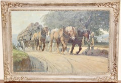 Antique Painting, oil on canvas. Draft Horses on country Road.
