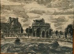 Antique Paris Ink and Gouache Landscape Painting 1920