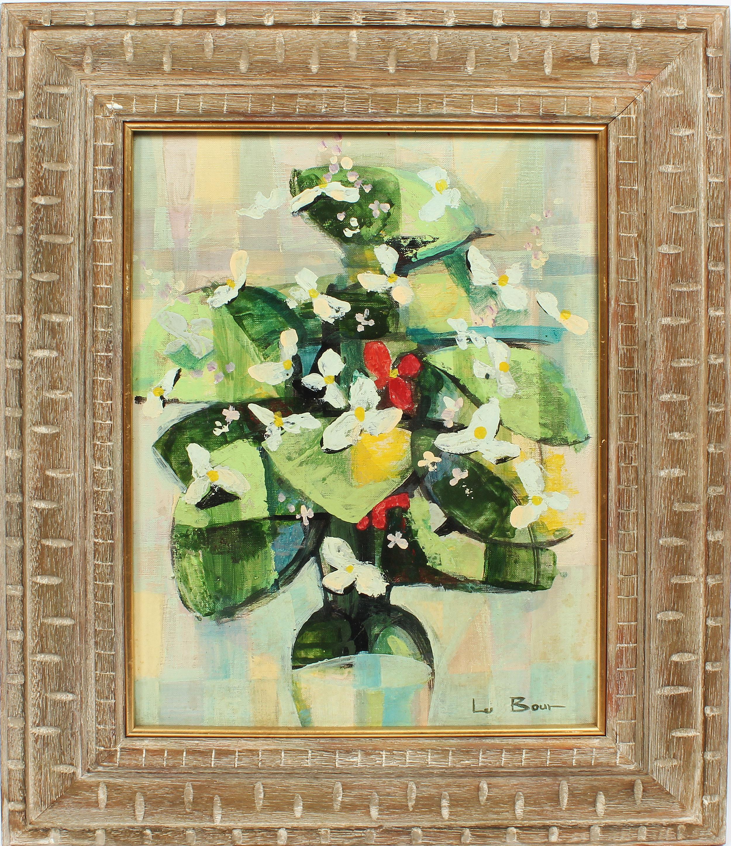 Antique Paris Modern Abstract Flower Still Life Signed Original Oil Painting