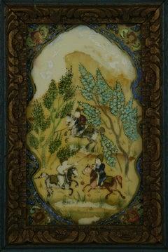 Antique Persian Hunt Scene  Landscape  Oil Painting