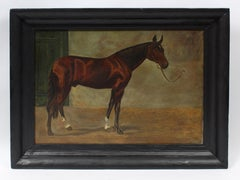 Antique Portrait of a Horse in the Stable Signed Illegibly Dated