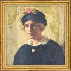 Antique Portrait Oil Painting of a Young Lady
