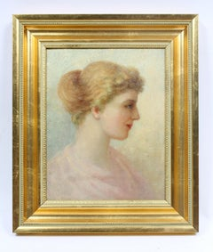 Antique Portrait Woman Green Pink Framed French Art Nouveau Oil Painting Romance
