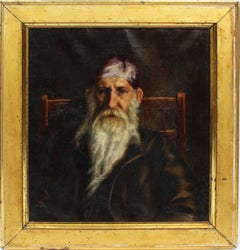 Antique Rare American School Portrait Painting of a Mystical Man Oil Painting