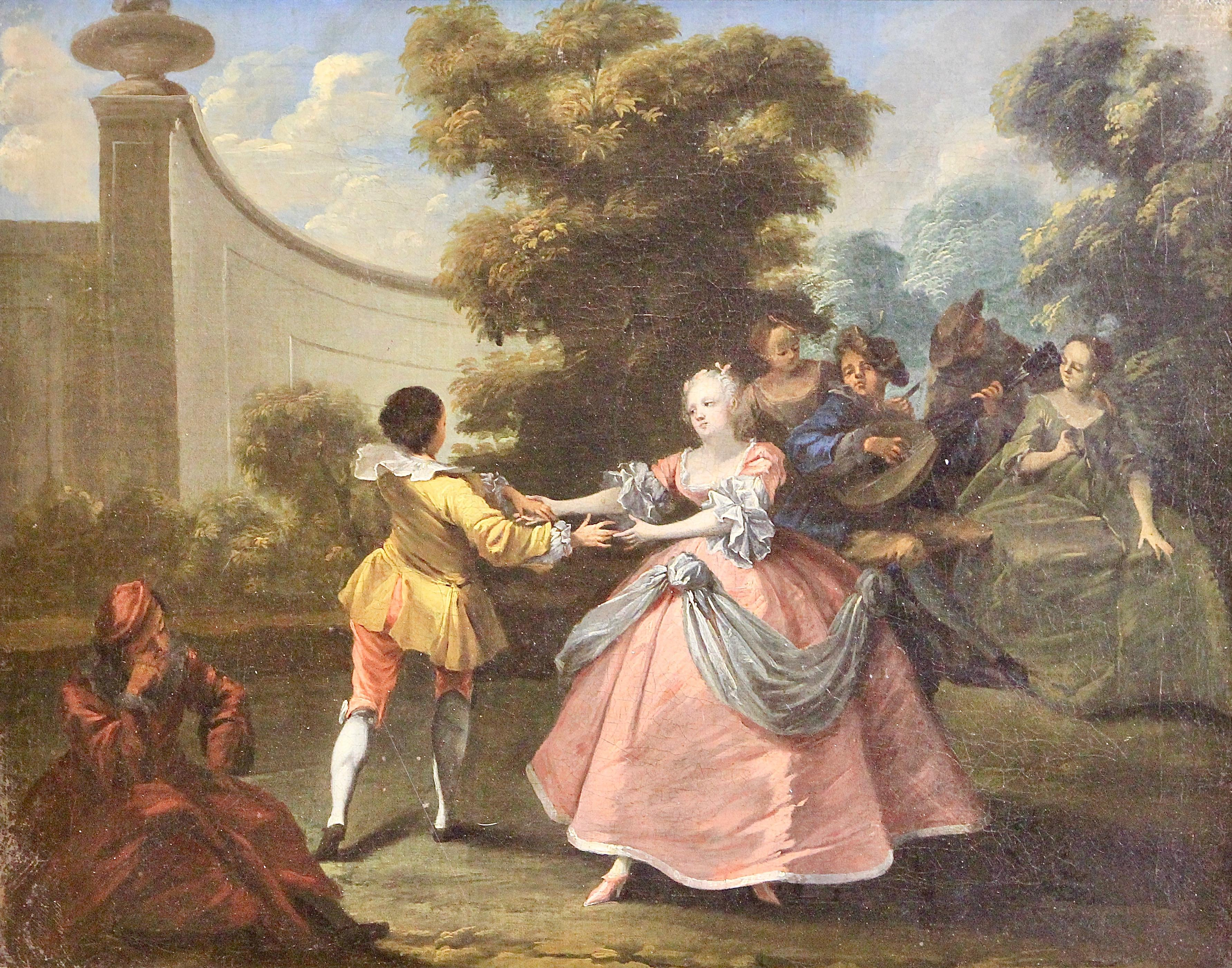 """Antique Rococo Oil Painting, around 1800, """"Royal Dance in the Garden"""""""