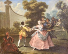 "Antique Rococo Oil Painting, around 1800, ""Royal Dance in the Garden"""