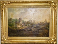 Antique, Romantic Oil Painting, 19th Century. Old Hunting Lodge at the Lake.