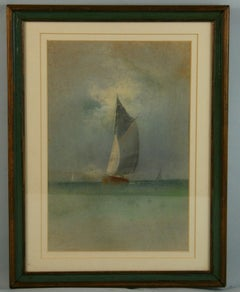 Antique Sailing Regatta oil Pastel 1900