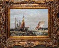 Antique Seascape Marine Oil Painting on Wood Panel