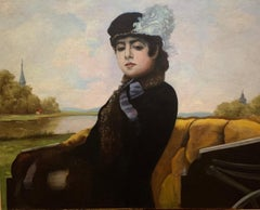 Antique Signed 19th French Impressionist Woman in a Carriage Portrait Painting