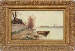 Antique Signed Barbizon School Original Landscape Impressionist River Painting