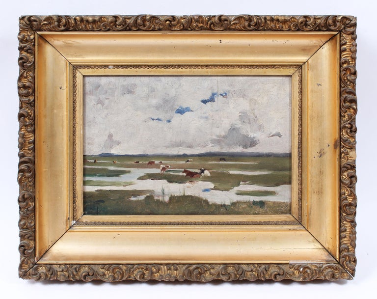 Antique Signed Impressionist Panoramic Landscape Oil Painting with Grazing Cows For Sale 1