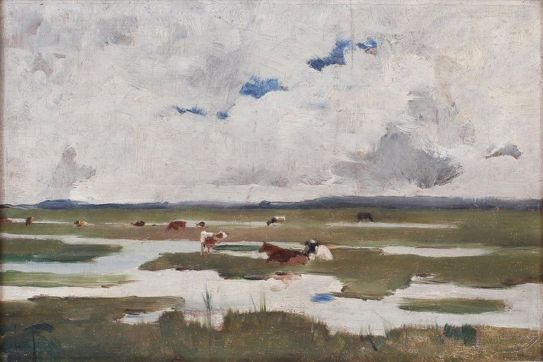 Antique Signed Impressionist Panoramic Landscape Oil Painting with Grazing Cows For Sale 2