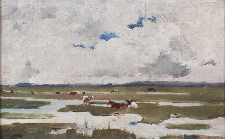Antique Signed Impressionist Panoramic Landscape Oil Painting with Grazing Cows For Sale 3