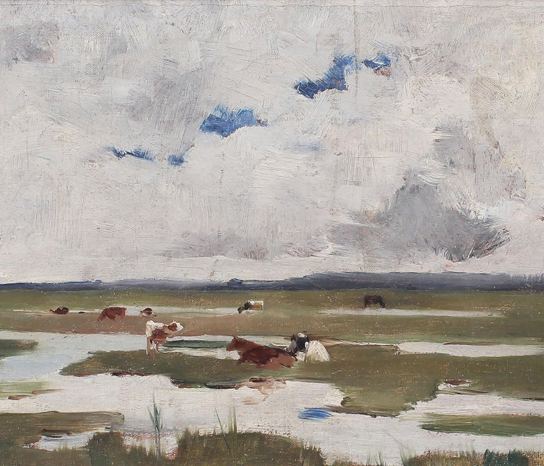 Antique Signed Impressionist Panoramic Landscape Oil Painting with Grazing Cows For Sale 4