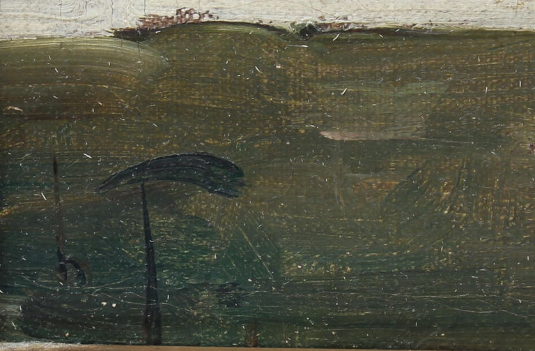Antique Signed Impressionist Panoramic Landscape Oil Painting with Grazing Cows For Sale 5