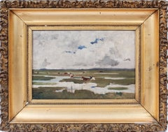 Antique Signed Impressionist Panoramic Landscape Oil Painting with Grazing Cows