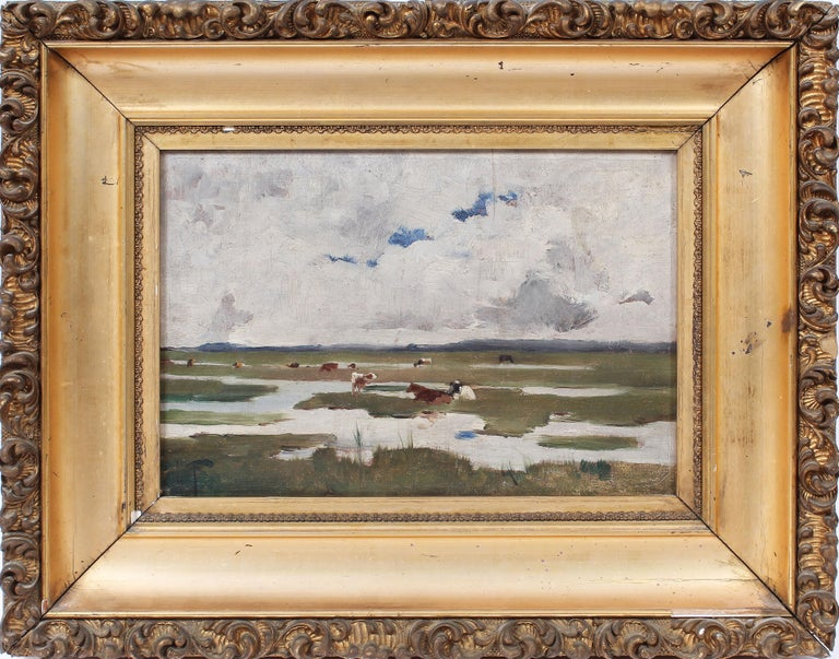 """Antique impressionist landscape painting with cows grazing.  Oil on canvas, circa 1880.  Signed illegibly lower left.  Displayed in a period giltwood frame.  Image size, 14""""L x 9.5""""H, overall 20""""L x 16""""H."""