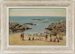 Antique Spanish Impressionist Busy Beach Scene Signed Original Oil Painting