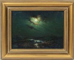 Antique Spanish Tonalist Moonlit River Landscape Nocturnal Rare Oil Painting