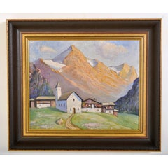 Antique Swiss Chalet Mountain Landscape Scene Oil Painting on Board Circa 1900