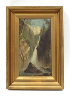 Antique Western Waterfall Oil Painting