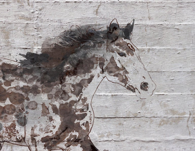 Arizona Horse Farmhouse Rustic Horse Fine Art Hand Embellished Giclee on Canvas  - Mixed Media Art by Irena Orlov