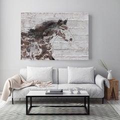 Arizona Horse Farmhouse Rustic Horse Fine Art Hand Embellished Giclee on Canvas