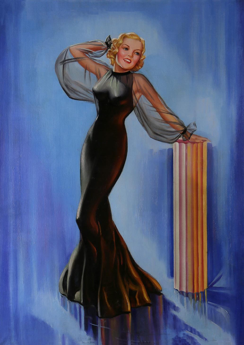Art Deco Blonde in Black Satin