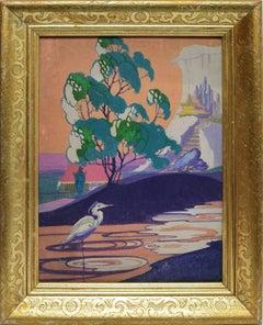Art Deco Landscape with A Heron
