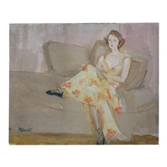 Art Deco Modernist Interior Brunette Girl Reclining on Sofa