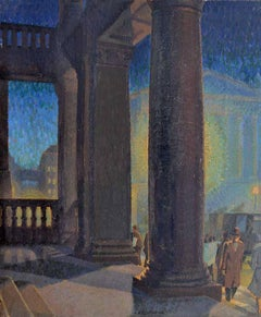 Art Gallery, Portico, Dark Evening - 20th Century Oil